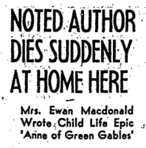 """Source: """"Noted Author Dies Suddenly at Home Here,"""" The Globe and Mail (Toronto, ON), 25 April 1942, 5."""